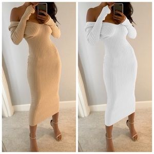 "🆕 ""Kimmie"" Soft Taupe Ribbed Off Shoulder Dress"